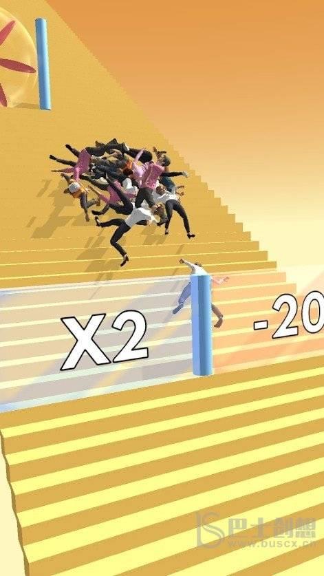 人群楼梯坠落