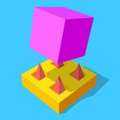 抖音上粉红色方块翻滚的游戏
