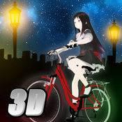 单车少女-夜色街灯